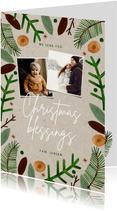 Hippe Christmas Blessings kerstkaart groene takjes foto's