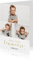 Hippe communie uitnodigingskaart fotocollage jongen