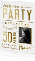 Hippe Einladungskarte 50. Geburtstag mit Foto & Typografie