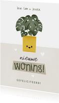 Hippe felicitatiekaart nieuwe woning met plantje en hartjes
