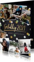 Hippe fotocollage nieuwjaarskaart met 9 polaroids en 2021