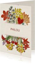 Hippe geboortekaart met vintage bloemen