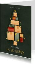 Hippe kerst verhuiskaart met kerstboom van dozen en sterren