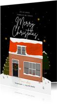 Hippe kerst-verhuiskaart nieuwe woning sneeuw merrychristmas
