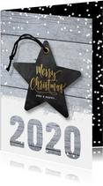 Hippe kerstkaart 2020 hout en ster