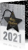 Hippe kerstkaart hout en ster 2021