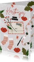 Hippe kerstkaart kerstkusjes door de brievenbus