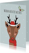 Hippe kerstkaart met Rudolf