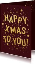 Hippe kerstkaart met speelse typografie en sterren