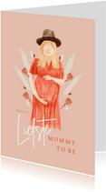 Hippe moederdagkaart mommy to be droogbloemen portret