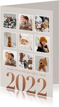 Hippe nieuwjaarskaart fotocollage groot jaartal 2022 beige