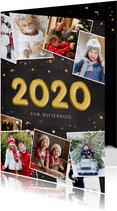 Hippe nieuwjaarskaart fotocollage polaroids met jaartal 2020