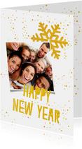Hippe nieuwjaarskaart in wit en goud met eigen foto's