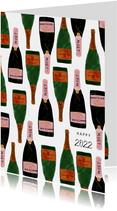 Hippe nieuwjaarskaart met champagneflessen en 2022