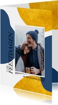 Hippe nieuwjaarskaart met goudlook vormen en foto