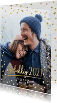 Hippe nieuwjaarskaart met grote foto, 2021 en confetti