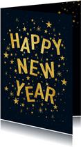 Hippe nieuwjaarskaart met speelse typografie en sterren