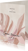Hippe trouwkaart botanische bladeren neutrale kleuren