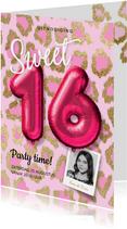 Hippe uitnodiging meisje sweet sixteen ballonnen