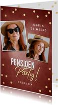 Hippe uitnodiging pensioen party gouden confetti & foto's