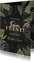Hippe uitnodiging tuinfeest met junglekader en typografie