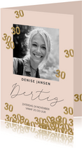 Uitnodigingen - Hippe uitnodiging verjaardag vrouw 30 confetti