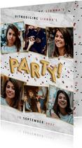 Hippe uitnodiging verjaardagsfeest met ballonnen en confetti