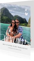 Hippe vakantiekaart met 1grote foto en aanpasbare landnaam