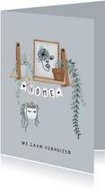 Hippe verhuiskaart met hangplanten, poster en slinger