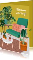Hippe verhuiskaart met planten en stoel