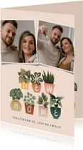 Hippe verhuiskaart met plantjes, New Home, foto's en hartjes
