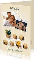 Hippe verhuiskaart 'New Home' met dozen, planten en kat