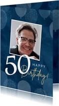 Hippe verjaardagskaart man 50 jaar ballonnen en waterverf
