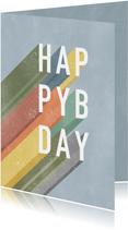 Hippe verjaardagskaart man Happy Birthday typografie