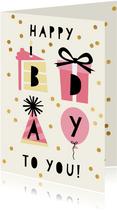 Hippe verjaardagskaart met taart, cadeau, hoed en ballon