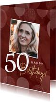 Verjaardagskaarten - Hippe verjaardagskaart vrouw 50 jaar met ballonnen en foto