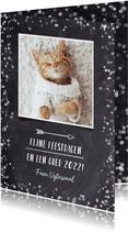 Hipper zwart witte confetti kerstkaart met eigen foto