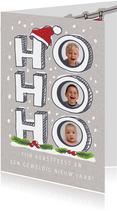 Ho ho ho kerstkaart met foto's in de letters en kerstmuts