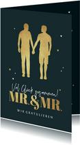 Hochzeit Glückwunschkarte Mr. & Mr. gold