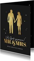 Hochzeit Glückwunschkarte Mr. & Mrs. gold