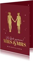 Hochzeit Glückwunschkarte Mrs. & Mrs. gold
