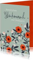 Hochzeits-Glückwunschkarte Blumendekor