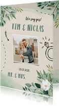 Hochzeitseinladung Blumen & Doodles mit Foto