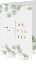 Hochzeitseinladung Eukalyptus 'we say yes' Foto innen