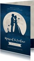 Hochzeitskarte neues Datum Silhouette Mond