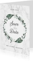 Hochzeitskarte Save-the-Date Marmor & Botanik