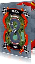 Hoera 8 jaar racebaan kaart