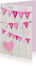 Felicitatiekaarten - Hoera een tweeling, meisjes vlag