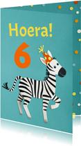 Hoera zebra verjaardagskaart