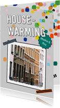 Housewarming confetti eigen foto en achtergrondkleur